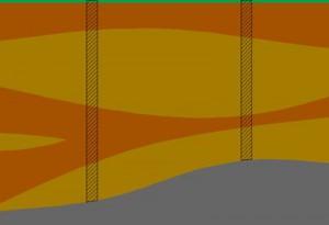Пример строения слоев и глубин скважин до одного и того же слоя в разных районах