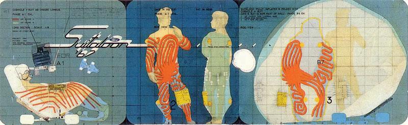 Экспериментальный и спекулятивный проект Cushicle & Suitaloon (Майкл Вебб, 1967) был направлен на поиск нового образа человеческого жилища, которое в «свернутом» состоянии могло бы выступать в качестве повседневной одежды либо вида транспорта (Фото: http://archigram.westminster.ac.uk)
