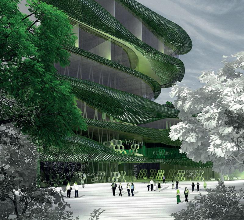многоцелевого комплекса в центре Любляны (OFIS Аrhitekti): зеленый (летний) вариант (Фото: OFIS Arhitekti)