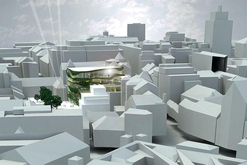 Модель комплекса Shopping Pillow Terraces в окружении плотной исторической застройки (Фото: OFIS Arhitekti)