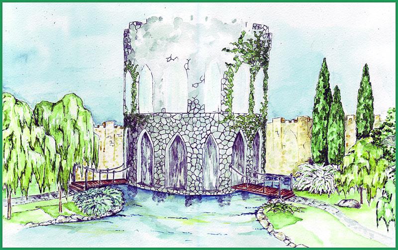 Эскиз средневековой башни