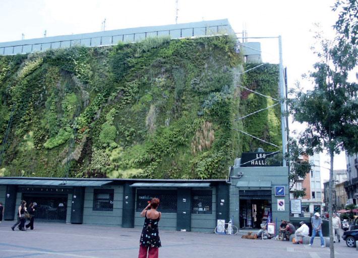 Растения на фасаде торгового центра